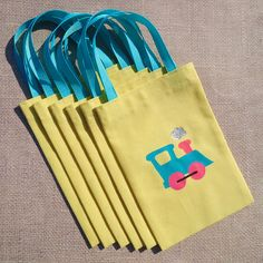 Neon Train Favor Bags - Set of 6 Yellow Train Party Goodie Bag by KandyOh