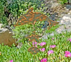 Dolphin Garden Stake / Garden Art / Metal Yard Art / Outdoor Garden Sculpture / Copper Art / Ocean Animal / Beach Decor / Nautical Gift by GardenCopperArt on Etsy