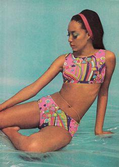 "thegikitiki: ""Swimwear, 1969 "" Source by triggbruce swimwear Vintage Bathing Suits, Vintage Bikini, Vintage Swimsuits, Polka Dot Tankini, Patti Hansen, Lauren Hutton, Swimwear Sale, Summer Swimwear, 1970s"