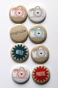 Hand drawn camera flair by aflairforbuttons on Etsy, $6.00