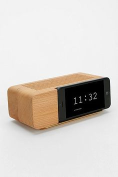 organic modern retro Clock $40 (before discount) - iPhone 5 Alarm Clock Dock via Urban Outfitters
