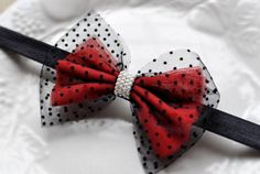 Simple Holiday Bow with Christmas motif with red and black lace