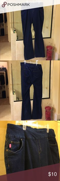 Woman Within jeans Size 18 Tall. Solid indigo blue. Pull on style. Boot cut. Good used condition. Woman Within Jeans Boot Cut