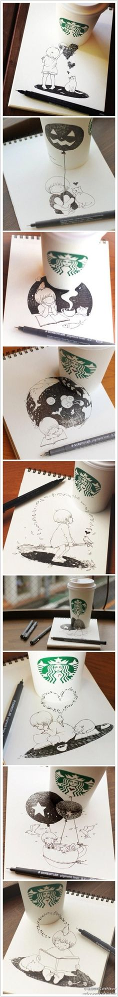 CafeMeow【猫插画】用星巴克杯画画~来自日本的Tomoko Shintani将喝完的咖啡纸杯与纸张结合在一起绘出互动的可爱插画,坐在咖啡店也不用那么的放空,随手拿起笔,也可以娱乐一番~