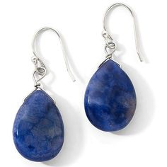 Teardrop Earrings, Sterling Silver Sodalite Silver ($14) found on Polyvore