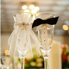 Bride and Groom Wine Flutes | DIY Bride and Groom Champagne Flutes