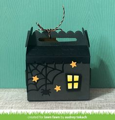 the Lawn Fawn blog: Lawn Fawn Intro: Scalloped Treat Box Haunted House Add-On, Shut the Front Door + Cute Cobweb