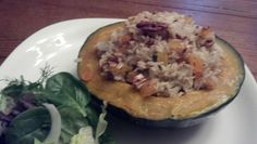 Oct 2: buttercup squash stuffed with brown rice, pecans, apricots, and parsley