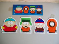 South Park Stickers  Comedy Central 1997    Lot Of 5 Includes    Cartman Sticker  Kenny Sticker  Stan Sticker  Kyle Sticker  And  Sticker Of The Group