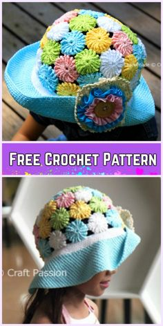 Crochet Little Girls Sun Hat Free Patterns - Crochet YOYO-PUFF WIDE BRIM HAT Free Pattern