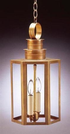 Hexagon Hanging Dark Antique Copper Medium Base Socket Seedy Marine Glass by Northeast Lantern. $397.00