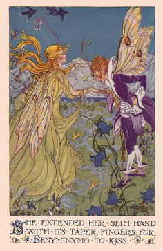 Eenyminymo kissed her hand ill ~ The Valley of Color Days by Helen B. Sandwell.   Illustrated by Alice  Bolam Preston.  Published by Little, Brown, and Co., 1924.
