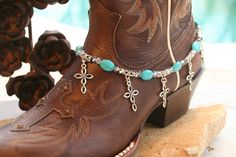 Items similar to Boot Candy Turquoise Ovals with Oval Design Crosses 608143 Boot Jewelry-Boot Bling-Boot Bracelet-Boot Accessories on Etsy Boot Jewelry, Anklet Jewelry, Jewlery, Cowgirl Chic, Cowgirl Boots, Cowgirl Style, Cowgirl Bling, Cowgirl Outfits, Western Style