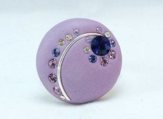 Bohemian Polymer Clay Purple ring with Crystal by TreasureStory