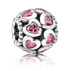 Pandora Silver Openwork Pink Cz Hearts Bead 791250czs 80360 #fashionjewelry