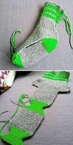Beautiful Skills - Crochet Knitting Quilting : Two Needle Socks - Free Knitting Pattern - Diy Crafts - maallure Finger Knitting, Knitting Socks, Free Knitting, Baby Knitting, Knit Slippers Free Pattern, Crochet Slippers, Knit Crochet, Easy Knitting Patterns, Knitting Designs