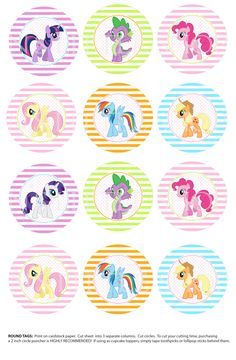 My Little Pony inspired 2inch circles, can be used as cupcake toppers, close envelops and more
