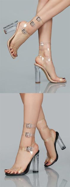 Clear Triple Strap Slip On Heel NUDE