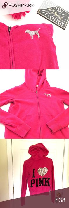 listing! Victoria's Secret PINK Bling Hoodie Hot pink hoodie in great condition with bling on the back. Size small. PINK Victoria's Secret Tops Sweatshirts & Hoodies