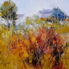 Herve Lenouvel Landscape Artwork, Abstract Landscape Painting, Watercolor Landscape, Abstract Art, Pinturas Color Pastel, Herve, Autumn Painting, Acrylic Art, Tree Art