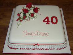 retro anniversary cakes images | 40th wedding anniversary cakes40th Wedding Anniversary Cake With Red ...