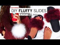 DIY Fluffy Slides & Puff Ball Ring   Alyssa Forever - YouTube