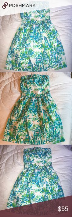 Lilly Pulitzer High Beams Strapless Dress Lilly Pulitzer Chandice dress in the print High Beams. Very pretty in person and pretty rare, I don't see this a ton on poshmark. XS but has a stretchy back as pictured so it can fit a variety of sizes. Still has hanging straps intact, and is in mint condition. Love this dress and I'm pretty firm on the price, I want to get around what I paid for it since I never wore it! Leave me any questions below Lilly Pulitzer Dresses Strapless