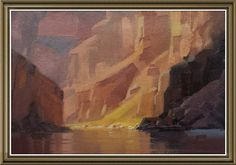 Canyon sketch. Oil on board.