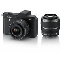 Nikon 1 V1 Mirrorless Digital Camera with 10-30mm and 30-110mm Lenses (Black) - 399/95$