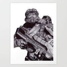 Master Chief Pen Drawing Art Print by DeMoose_Art - $20.00 Free Shipping + $5 Off Each Item in your shop!