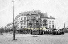 ancienne carte postale de SchaerbeekPlace de la Gare et avenue Elisabeth