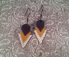 Art Deco Leather Earrings   handmade by jennamahshie, $18.00 http://www.copperandteal.com