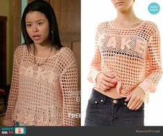 Mariana's pink crochet CAKE sweater on The Fosters.  Outfit Details: https://wornontv.net/66993/ #TheFosters