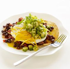 Huevos Rancheros with Chipotle Black Bean Sauce and Avocado Salsa - Bon Appétit