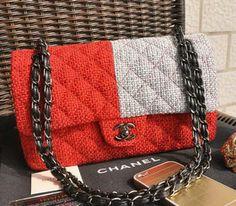 Wholesale Réplique 2.55 de Chanel Classic Series Sac à rabat en tissu  CF1112 rouge et gris b10c0c34be3