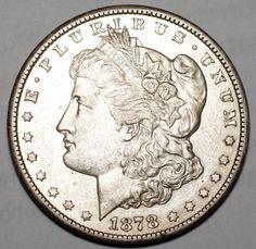 1878-CC $1 Morgan Silver Dollar-AU, details-Carson City-Free USA Shipping