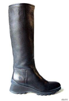 new PRADA black bappa leather logo zipper tall FLAT RIDING BOOTS 35 US 5
