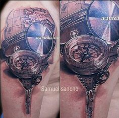 Compass and map tattoo