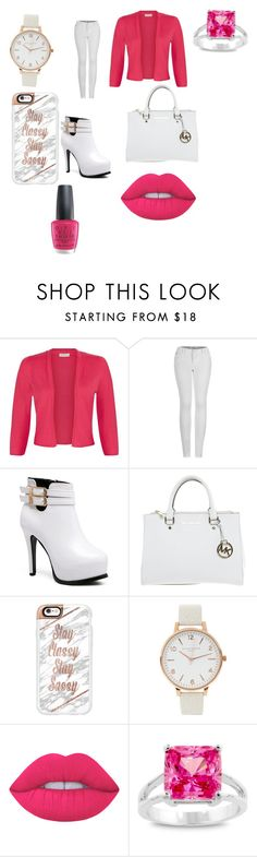 """""""👍🏻💓"""" by maiatomlinson ❤ liked on Polyvore featuring Monsoon, 2LUV, Michael Kors, Casetify, Olivia Burton, Lime Crime, Kate Bissett and OPI"""