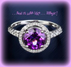 2.3ct Round Amethyst Engagement Ring in a 14k White Gold Diamond Single Halo setting  $1,140.00