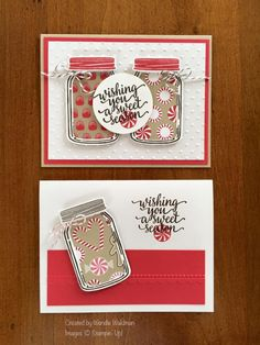 Stamps: Candy Cane Christmas, Jar of Love Paper: Real Red, Crumb Cake, Whisper White Ink: Early Espresso, Real Red Accessories: Silver Embossing Powder, Early Espresso Baker's Twine, Jar of Love Bundle