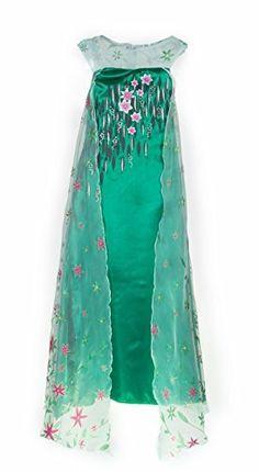 Girl Snow Princess Dress Costume with Glittering Flower Cape SZ 4-5 Long Slim Green, http://www.amazon.com/dp/B018DHD4FO/ref=cm_sw_r_pi_awdm_X.Oxwb1DER4B8