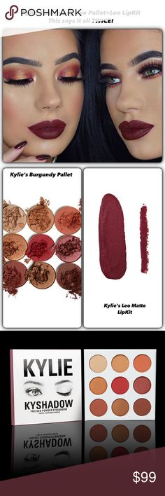 """/Nip/Kylie's Magic Pairing/Burgundy Eyes/Leo Lip Nip/A Match Made in Kylie Heaven! This look Uses The Burgundy 9 EyeShadow Pallet & Sealed it with a Leo LipKit Lip Lock! The Shadows are build-able color to ur liking! Demure or dramatic/And lips that you want to Kiss! But hold up to guaranteed to be """"Kiss Proof"""" Stay on power! This is just one look you can take away! Both available! Together or sold separately too! This listing is for both! No RETURNS/REFUNDS/Nip/Products! Guaranteed…"""