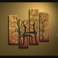Large Contemporary Wall Art Oil Painting On Canvas For Living Room Figure. This 4 panels canvas wall art is hand painted by V.Chua, instock - $148. To see more, visit OilPaintingShops.com