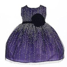 Crayon Kids Baby Girls Purple Velvet Flower Sash Sequin Christmas Dress 69M *** Details can be found by clicking on the image.