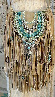 HANDMADE Tan Flecos de Gamuza Bolso de Hombro Bolso Vintage Pedrería Hippie tmyers