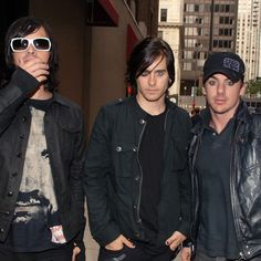 Tomo Milicevic, Jared Leto and Shannon Leto of 30 Seconds To Mars at the Hard Rock Hotel on Aug. 5, 2006, in Chicago.