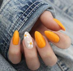 bright nail art id… - Beauty Home - Summer nails; bright nail art id - Bright Nail Art, Yellow Nail Art, Daisy Nail Art, Yellow Nails Design, Nails With Flower Design, Bright Colors, Red Orange Nails, Bright Orange Nails, Bright Colored Nails