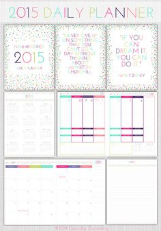 EDITABLE 2014/15 Printable Full Page Size by EverydayEnchanting