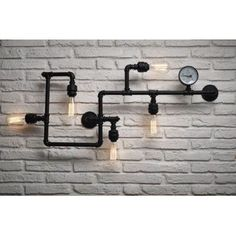 Industrial, Upcycled pipes wall lamps are trending right across the globe, get some cool lighting for your home and office. Call our vintage light store 01780 435060 Gym Lighting, Pipe Lighting, Interior Lighting, Kitchen Lighting, Retro Table Lamps, Vintage Lamps, Vintage Lighting, Industrial Wall Lights, Industrial Pipe